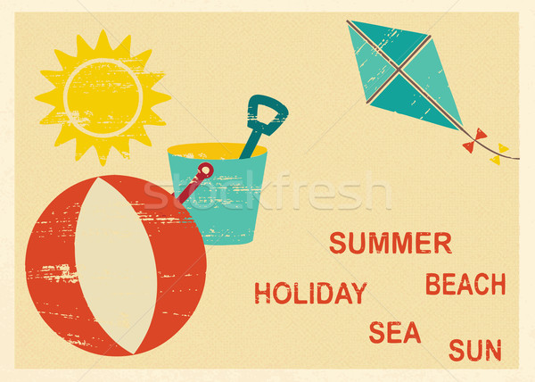 Vintage postcard with summer and sea related elements 4 Stock photo © sanjanovakovic