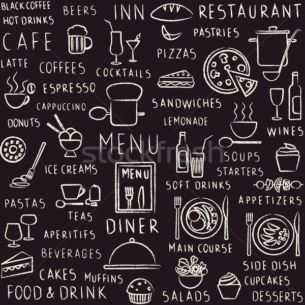 Vector seamless pattern background with hand drawn food, drink and restaurant menu elements on black Stock photo © sanjanovakovic