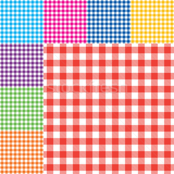 Vector gingham seamless pattern in eight different bright colors Stock photo © sanjanovakovic