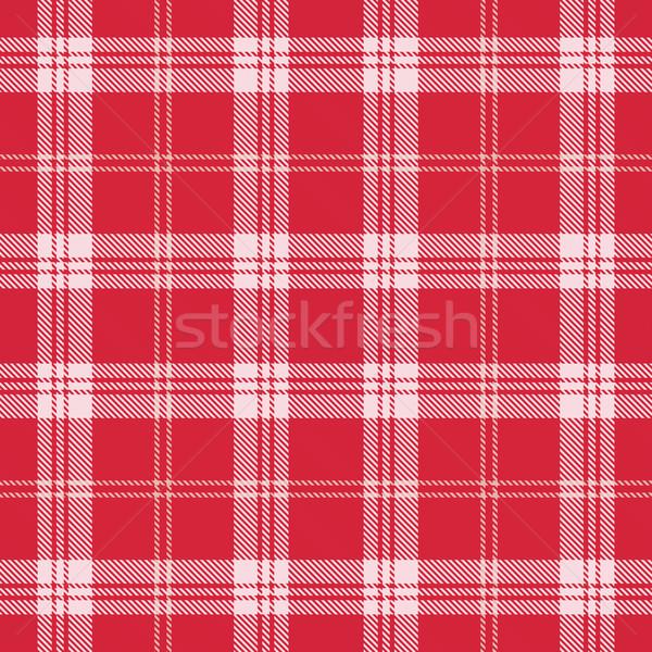 Vector red and white plaid tartan seamless pattern background Stock photo © sanjanovakovic