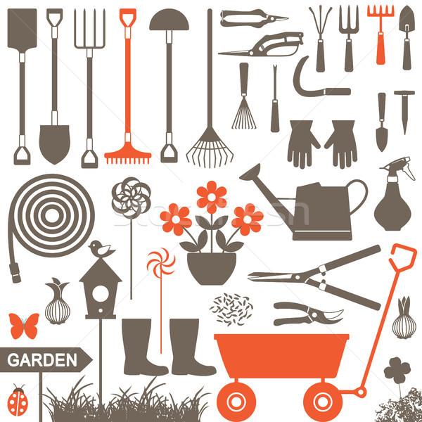 Bahçıvanlık vektör simgeler siluet ayarlamak Stok fotoğraf © sanjanovakovic