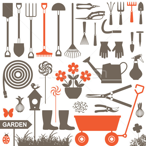 Gardening related vector icons 4 Stock photo © sanjanovakovic