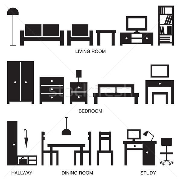 вектора домой мебель силуэта иконки знак Сток-фото © sanjanovakovic