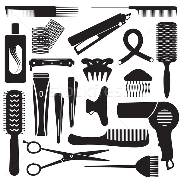 Hairdressing related symbols 3 Stock photo © sanjanovakovic
