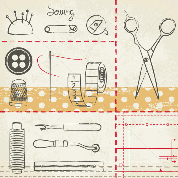 Vintage hand drawn sewing related poster   Stock photo © sanjanovakovic