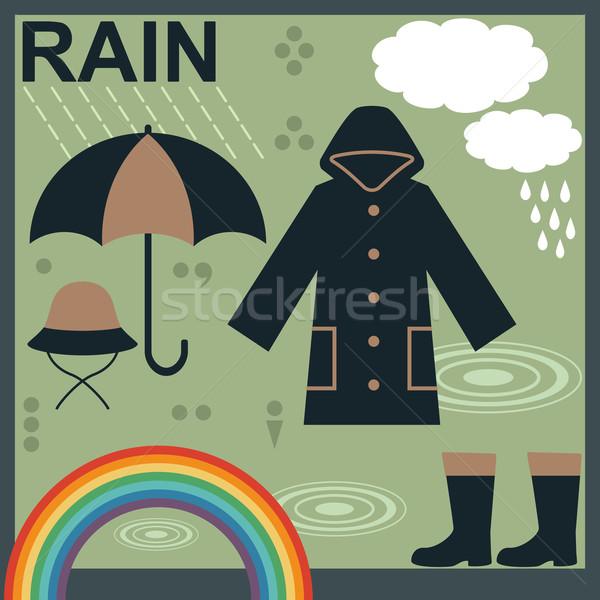 Rain related objects and symbols vector set 1 Stock photo © sanjanovakovic
