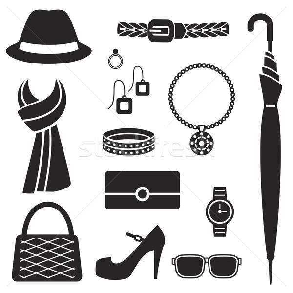 Nők divat kellékek sziluett ikonok vektor Stock fotó © sanjanovakovic