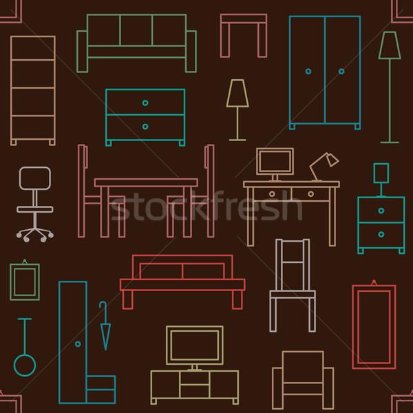 Vector casa muebles iconos Foto stock © sanjanovakovic