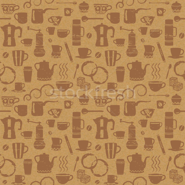 Coffee related seamless pattern on paper textured background 2 Stock photo © sanjanovakovic