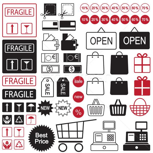 Shopping and sale icon set Stock photo © sanjanovakovic