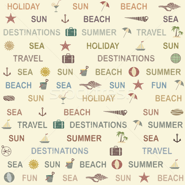 Seamless Pattern With Summer And Sea Related Symbols And Words