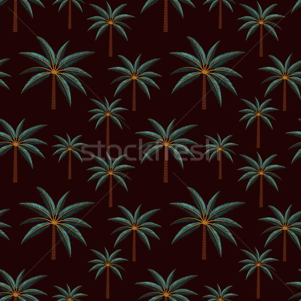 Palm trees inspired vector seamless pattern background Stock photo © sanjanovakovic