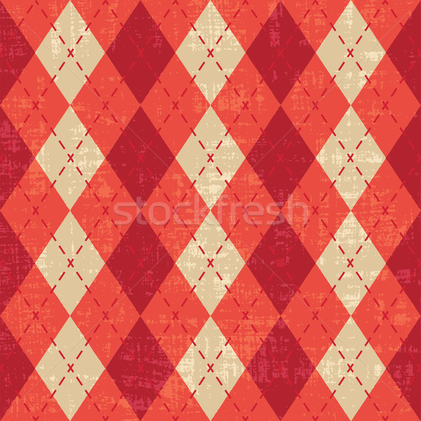 Scratched red and orange argyle pattern inspired vector background Stock photo © sanjanovakovic
