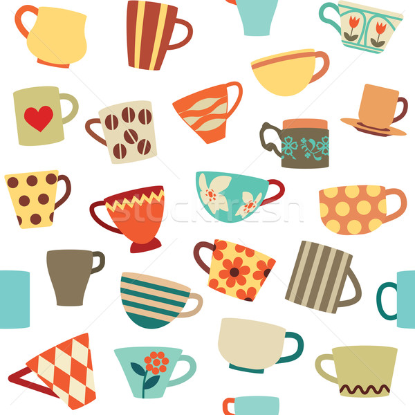 Seamless pattern with colorful cups Stock photo © sanjanovakovic