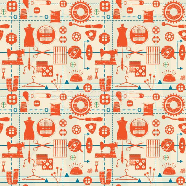 Stylized retro seamless pattern with sewing and tailoring related symbols Stock photo © sanjanovakovic