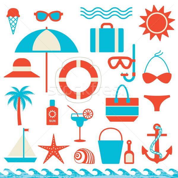 Lata morza ikona wektora zestaw podróży Zdjęcia stock © sanjanovakovic