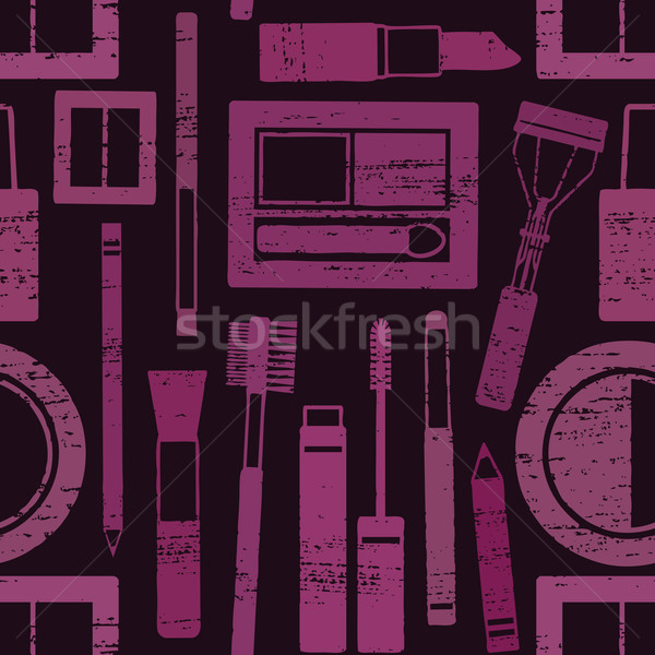 Purple and black scratched seamless pattern background with makeup objects Stock photo © sanjanovakovic