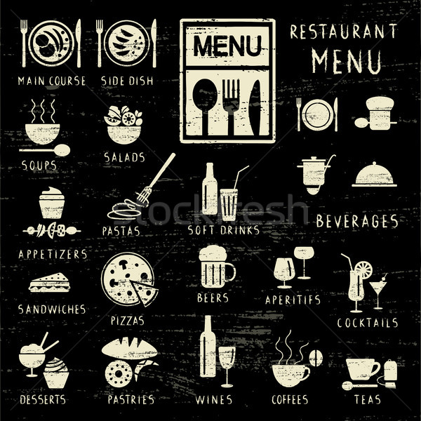 Stock photo: Scratched restaurant menu elements on blackboard