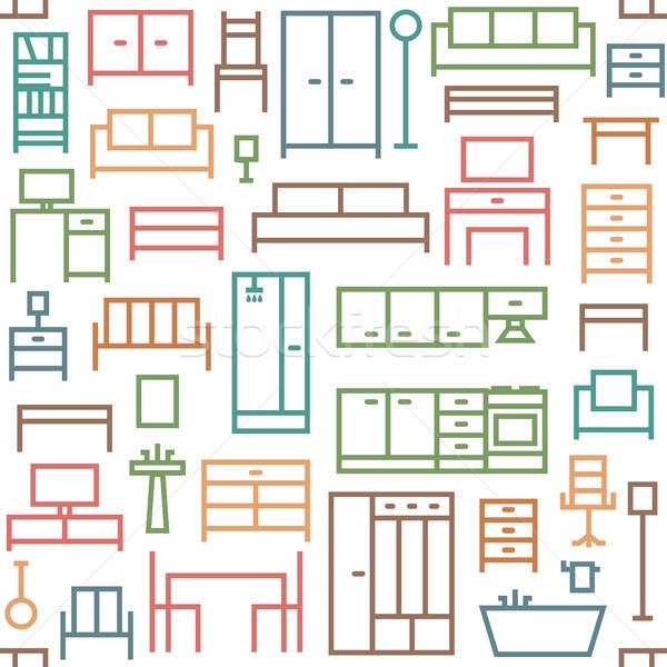 Muebles vector sin costura patrón Foto stock © sanjanovakovic