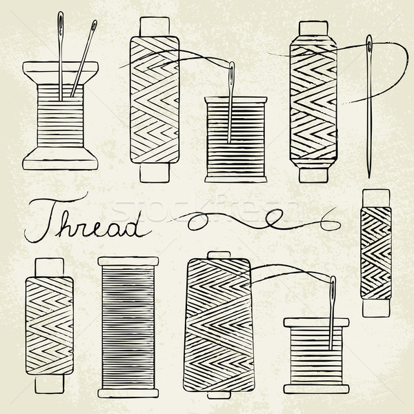 Vintage hand drawn thread spools and needles on old paper background Stock photo © sanjanovakovic