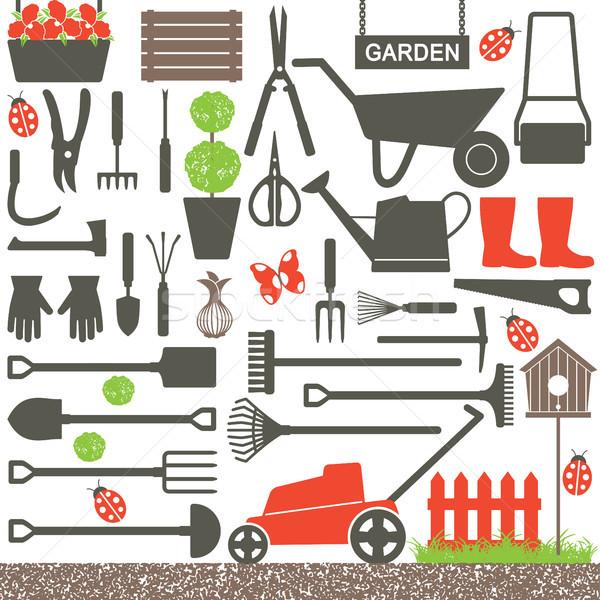 Kertészkedés vektor ikonok különböző sziluett szett Stock fotó © sanjanovakovic