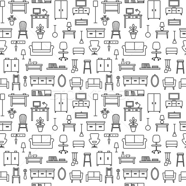 Vector seamless pattern background with home furniture outline icons 8 Stock photo © sanjanovakovic