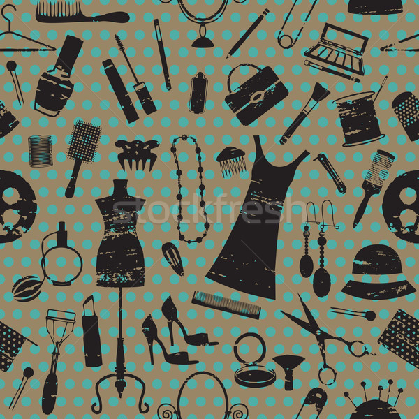 Seamless pattern with beauty and fashion symbols on dotted background   Stock photo © sanjanovakovic