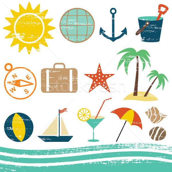 Scratched summer and sea related icons 1   Stock photo © sanjanovakovic