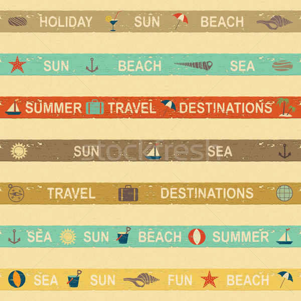 Summer and sea themed banners on beige textured background Stock photo © sanjanovakovic