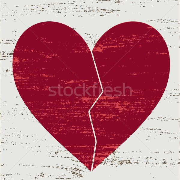 Bağbozumu kırmızı beyaz kalp yalnız Stok fotoğraf © sanjanovakovic