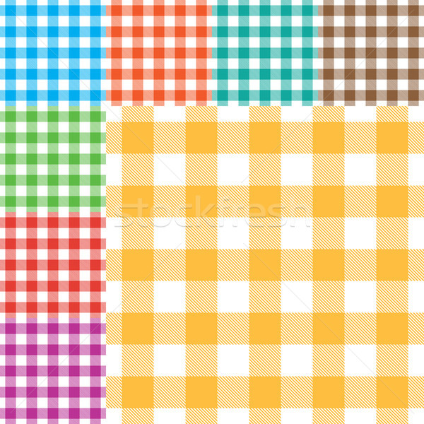 Vector gingham seamless pattern in eight different colors Stock photo © sanjanovakovic