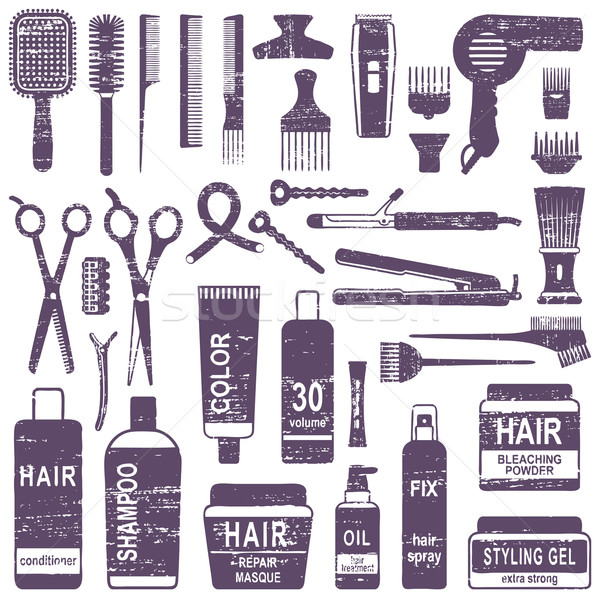 Scratched hair styling silhouette icons set Stock photo © sanjanovakovic