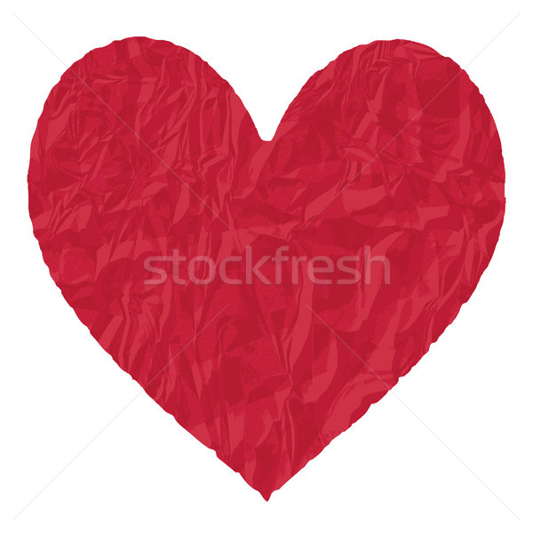 Red crumpled paper heart vector illustration Stock photo © sanjanovakovic