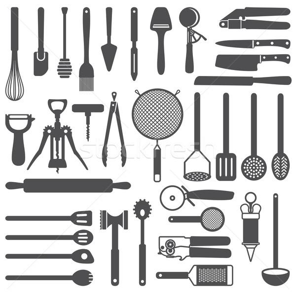 Kitchen utensils vector silhouette icons set Stock photo © sanjanovakovic