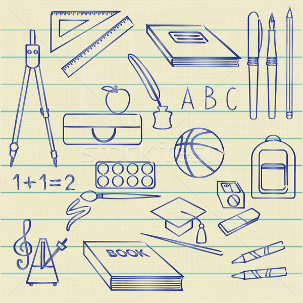 Hand drawn school related symbols on lined paper background Stock photo © sanjanovakovic