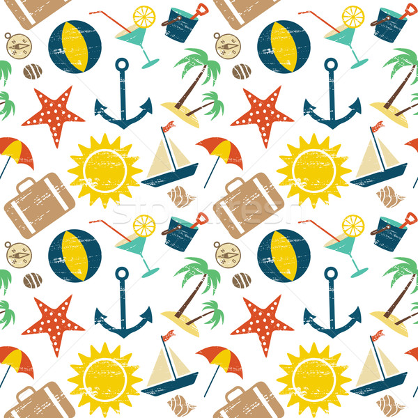 Scratched summer and sea related seamless pattern Stock photo © sanjanovakovic