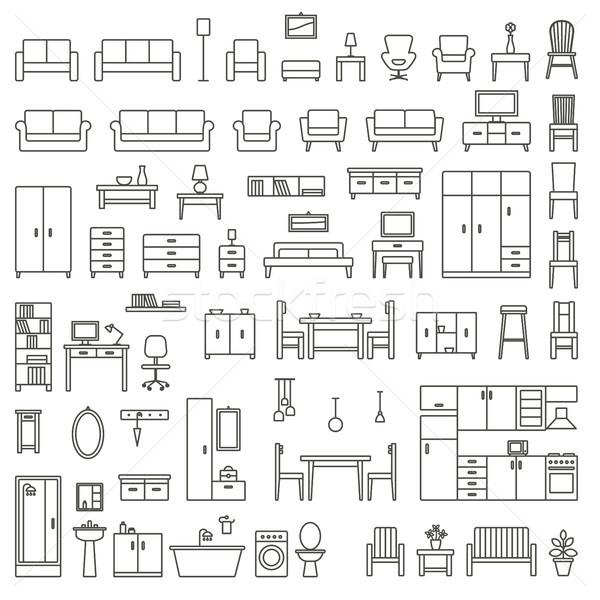 Сток-фото: вектора · домой · мебель · знак