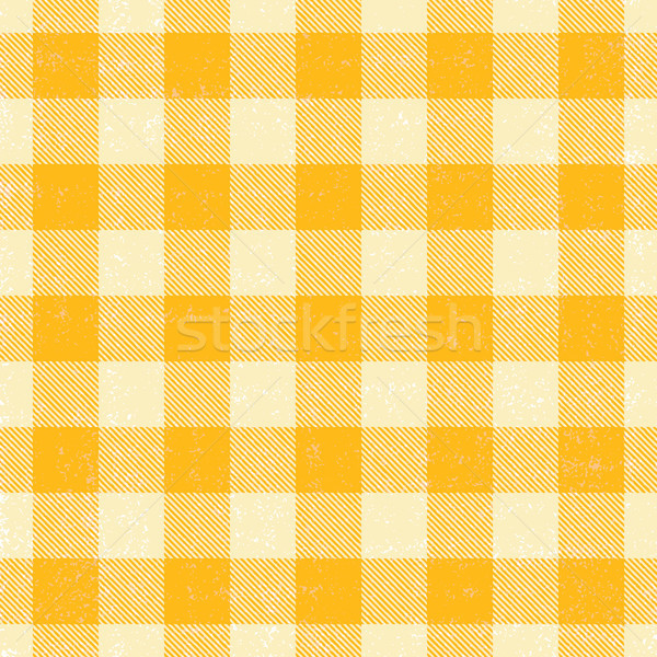 Yellow and white scratched plaid gingham vector pattern background
