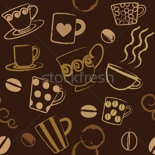 Coffee related seamless pattern Stock photo © sanjanovakovic