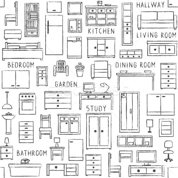 Stok fotoğraf: Vektör · mobilya · arka · plan · mutfak