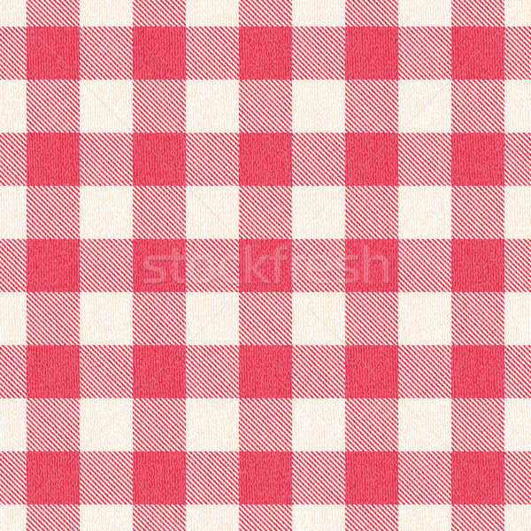 Red and white textured plaid gingham vector pattern background 2 Stock photo © sanjanovakovic
