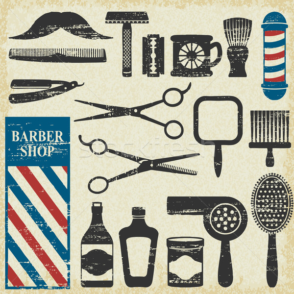 Vintage barbier magasin outils silhouette Photo stock © sanjanovakovic