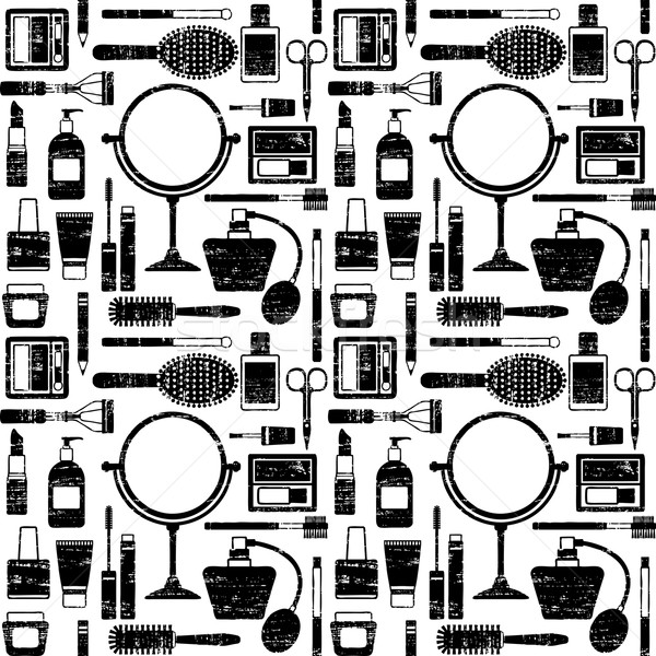Scratched vector seamless pattern background with various cosmetic objects 1 Stock photo © sanjanovakovic
