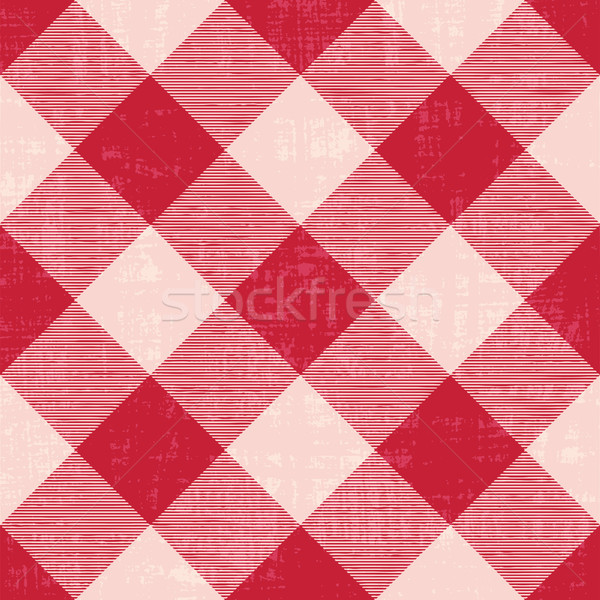 Scratched gingham inspired diagonal vector pattern background