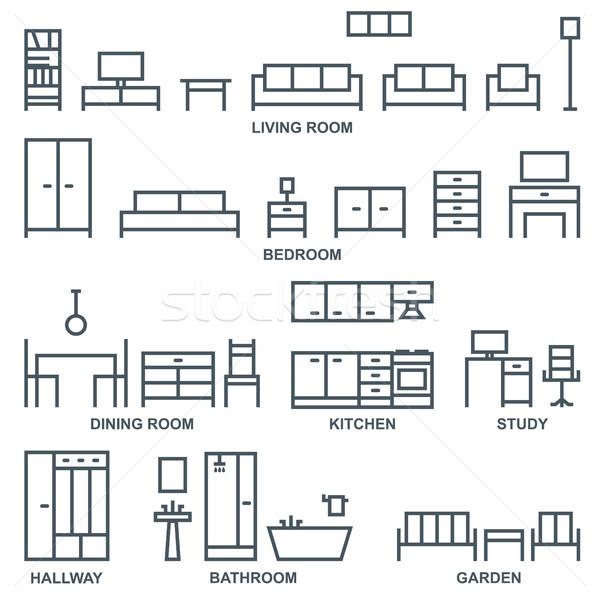 Vector furniture outline icons 1 Stock photo © sanjanovakovic