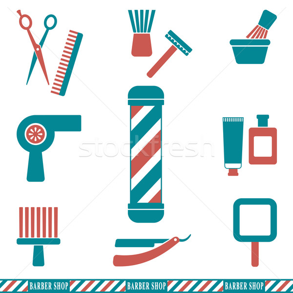 Barber and hairdresser silhouette icons set 2 Stock photo © sanjanovakovic