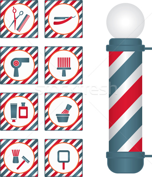 Barbier Laden Pol Symbole Männer Stock foto © sanjanovakovic