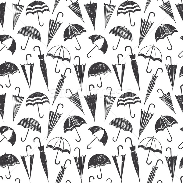 Scratched vector seamless pattern with umbrellas Stock photo © sanjanovakovic