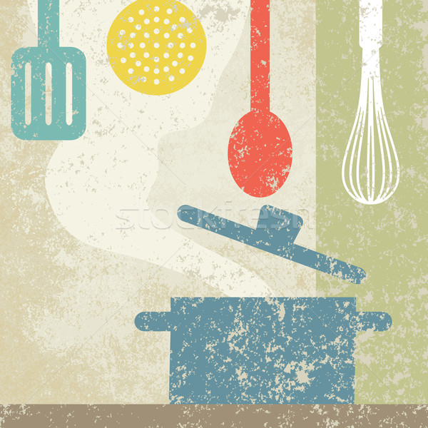 Vintage cooking related poster 1 Stock photo © sanjanovakovic