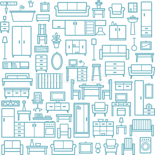 Vector seamless pattern background with home furniture outline icons 6 Stock photo © sanjanovakovic
